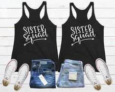 Sister Squad Shirt, Matching Sister Shirt, Best Friend Shirt, Bff Tank, Personalized Best Friend, Sister Tee, Twin  Sister Gift, Squad Goals Friends Sweatshirt, Arrow Shirts, Best Friend Shirts, Sister Shirts, Best Friends, Love Your Sister, Soul Sisters, Black Tank Tops, Guys And Girls
