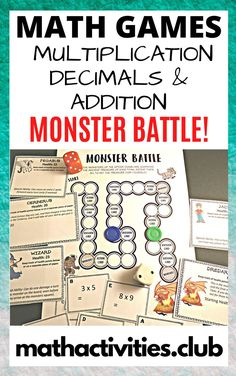 A fun Math Board Game perfect for elementary or middle school students. : Monster Battle! Bundle: Multiplication, Decimals, & Addition. In this game, your students move around a math board game battling monsters and answering math questions. This is a multiplayer boardgame, with 3 boards. The math topics covered are below.: Multiplication (one digit x one digit). Multiplication (two digit x one digit). Decimal addition and subtraction questions. Two-digit addition and subtraction.