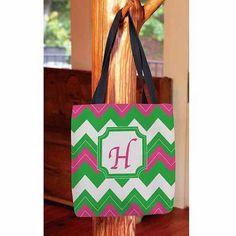 Thumbprintz - Chevron Monogram Tote Bag, Women's, Size: 16 inch x 16 inch, Pink