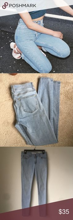 """American Apparel Jeans in Medium Stone Wash Indigo Fantastic pair of jeans from American Apparel. Worn but with plenty of life left. Can't get your hands on these anymore! The color is perfect and goes with everything :) Rise 9.5"""" and Inseam 32"""". Size 30. American Apparel Jeans Skinny"""