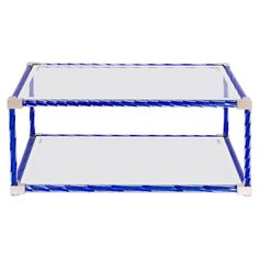 Italian Cocktail Table in Blue Murano Glass, 1990s 1