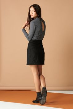 Alice Skirt in black. Whimsy + Row FW'17 Eco-Friendly Clothing. Ethical brand, sustainably made in LA. Sustainable fabrics, fall mini skirt, sustainable fashion. Made in USA.