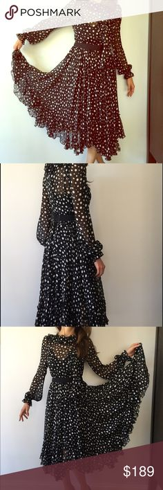 Dolce & Gabbana silk black & white polkadot dress D&G. Made in Italy. Pure silk. Gathered and the wrists. Ruffle at front. Loose fit. Sheer fabric. Modeled with a silk slip underneath (not included) D&G Dresses Midi