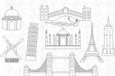 World Landmarks Line Art (Set Digital Clip Art Set: Empire State Eiffel Tower London Bridge Taj Mahal Leaning Pisa Windmill Travel Tower Bridge London, Tower Of London, Pisa, Empire State, Wreck This Journal, Travel Themes, Taj Mahal, Art Projects, Project Ideas