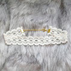 Choker Necklace Ivory White Lace Collar Fashion Accessories Jewelry Handmade Elegance Lolita Cute