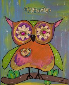 Original acrylic hoot owl painting on canvas. $25.00, via Etsy.