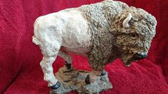 "White Buffalo Bison Figurine Unmarked 7"" Tall 8"" Long 1990's Collectible"