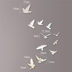 Aves-acriacutelico-efecto-espejo-Mural-etiqueta-de-la-pared-removible-Modern-Roo
