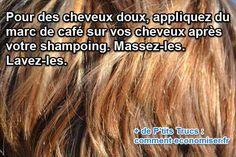 Une astuce beauté pour les brunes qui veulent s'adoucir les cheveux c'est d'utiliser le marc de café comme après-shampooing naturel. C'est efficace et gratuit. L'avantage pour les brunes ou les bruns, c'est que cet après-shampooing maison redonne de la couleur aux cheveux.  Découvrez l'astuce ici : http://www.comment-economiser.fr/marc-de-cafe-un-apres-shampoing-naturel-gratuit.html?utm_content=bufferfd379&utm_medium=social&utm_source=pinterest.com&utm_campaign=buffer