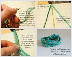 The bracelet tutorials on this site are so good...really want to make this braided leather and chain wrap bracelet!
