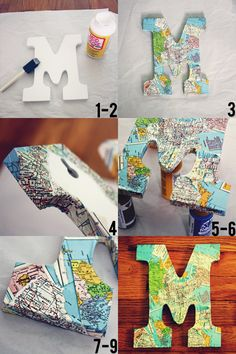 decoupaged mapa letra DIY