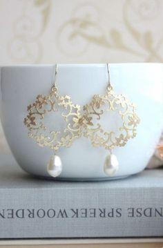 Gold Moroccan, Boho Filigree Ivory Pearls Chandelier Earrings ...