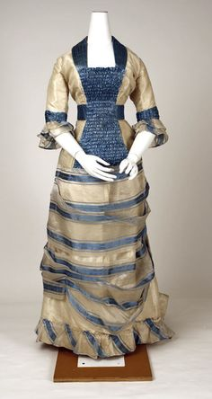 ~Piña is a stiff fiber obtained from the leaves of the pineapple plant. When woven with silk it creates a lightweight cloth perfect for hot weather...in the mid-19th century [it] became a very popular material for summer clothing...this gorgeous piña cloth dress was made in Switzerland circa 1880~