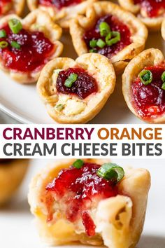Easy bite-size cream cheese appetizer bites with cranberry sauce, a warm cream cheese filling, baked inside flaky pie crust. The perfect make ahead appetizer for holidays, it is always a crowd pleaser!