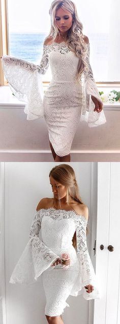 55d577a28fb Sheath Off-the-Shoulder Bell Sleeves Knee-Length White Lace Homecoming Dress