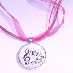 #Music #glass necklace #pink cord @lindab142 #giftideas