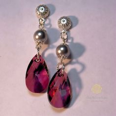 Lilac Shadow and Pearl Swarovski Crystal Earrings by OneYellowRose, $20.00