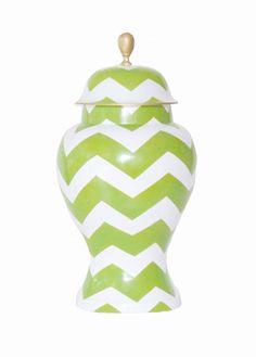Ginger Jar, Large in Green Bargello Dana Gibson