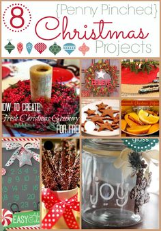 8 Penny Pinched Christmas Projects ~ etched glass, homemade cinnamon ornaments, handprinted tree skirt, Chirstmas potpourri and more, all for $10 or less!
