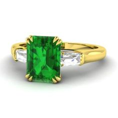 Emerald-Cut Emerald  and VS Diamond Three stone Engagement Ring in 18k Yellow Gold