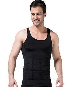 28f1721cb8f7b Panegy Men Breathable Body Shaper Athletic Sculpting Vest Slimming Shirt Tank  Top Sleeveless Undershirt Black L