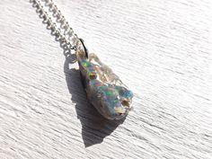 black opal pendant silver rough opal pendant mens by CrazyAssJD