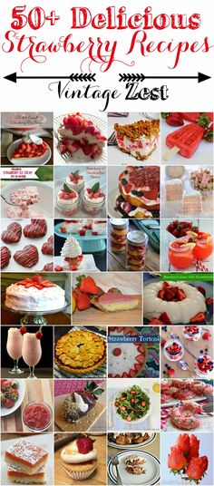 50 Strawberry recipes.  This collection has breakfast recipes (including a few variations on strawberry muffins), beverages, pies, cakes, frozen treats, and even a strawberry soup!