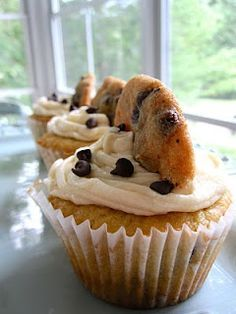 Chocolate chip cookie dough cookie cupcakes!