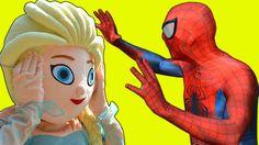 Frozen Elsa DATES Spiderman! w/ Frozen Elsa Bath Time w/ Joker IRL Super...
