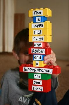duplos, can put antonyms on other side of blocks, as well as different gender words (his and her)
