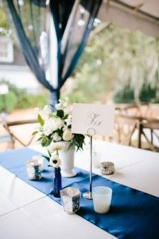Sweetgrass Social wedding at Legare Waring House. Lauren & Jared. Navy and white floral table scape.
