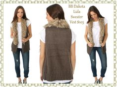 BB Dakota Lida Sweater Vest:   Faux-fur trim adds a luxe element to this BB Dakota wrap sweater vest. Crisp weave backing on the trim. Ribbed hem.  Fabric: Knit.  Shell: 100% acrylic.  Trim: 60% acrylic/40% polyester.  Dry clean.  Imported, China.  Available size S-L