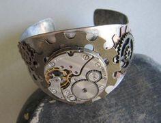 Steampunk Bracelet, Steampunk Cuff, Steampunk Jewelry, Men, Unisex, Watch Parts, Gears, Gift Ideas Under 30 Dollars, Goth on Etsy, $29.00
