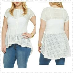 Crotchet Peblum Top This gorgeous snow white Top is a must have for any wardrobe. Features zipper front and a hi-lo cut for a more slimming fit.  *Free white tank with purchase**..Thank you and Happy Poshing!!! Available May15th Tops Tunics