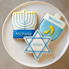 Personalized giant Hanukkah cookies. Cute gift to send to friends or family across country.