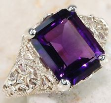 2CT Natural Amethyst 925 Solid Genuine Sterling Silver Edwardian Style Ring Sz 8