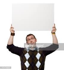 Image result for person holding a sign overhead