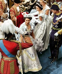 The Queen and Prince Phillip arrive at the Abbey for her Coronation in her splendid dress which can be seen at Buckingham Palace Elizabeth Of York, Princess Elizabeth, Princess Margaret, Queen Elizabeth Ii, Queen's Coronation, Elisabeth Ii, Royal Crowns, Her Majesty The Queen, Royal Weddings