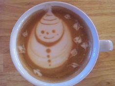 snowman cafe latte