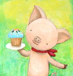 Original Painting Illustration Cute Pig with Cupcake (Green) $39.99, via Etsy.