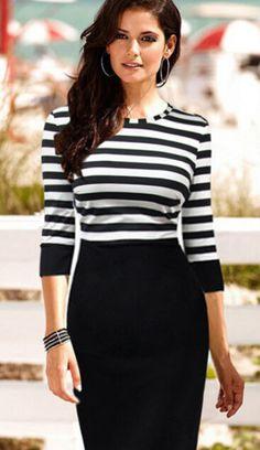 Black White Striped Pencil Dress - abaday.com
