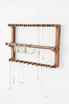 Magical Thinking Vintage-Inspired Wooden Jewelry Organizer - I could use my warping board to hang jewelry when I'm not using it (aka most of the time)
