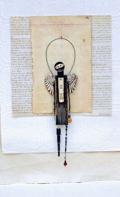 Assemblage Mixed Media Angel Damien by Indiandollartworks on Etsy, $120.00