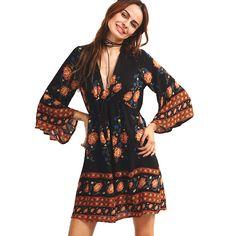 213bbd589518 Women Summer Autumn Dress 2016 Floral Print V Neck vintage elegant sexy  club dresses Loose Casual Boho Beach Vestidos plus size