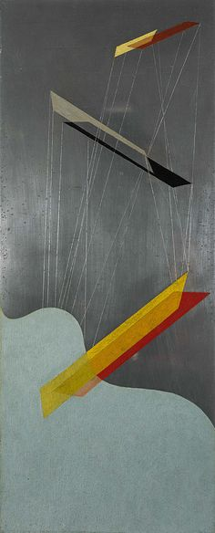 Sil I -László Moholy-Nagy, 1933 From the National Galleries of Scotland: This is the first of three works painted on a new type of aluminium called silberit, hence the title. From the mid-1920s, Moholy-Nagy abandoned traditional easel painting in favour of experimentation with new industrial materials, such as aluminium, plastic and celluloid. Aluminium had associations with new technology and also satisfied Moholy-Nagy's desire to, as he put it, 'paint with light', since the material was…