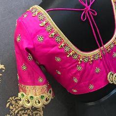 Work in progress ❤️❤️❤️❤️❤️❤️ Wedding Saree Blouse Designs, Silk Saree Blouse Designs, Fancy Blouse Designs, Blouse Neck Designs, Blouse Patterns, Simple Embroidery Designs, Stylish Blouse Design, Work Blouse, Embroidery Dress