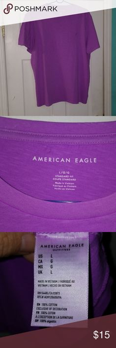 American Eagle Logo Shirt. Faded style. Size Large  100% Cotton  Beautiful color🌌🔥🔥🔥 American Eagle Outfitters Shirts Tees - Short Sleeve