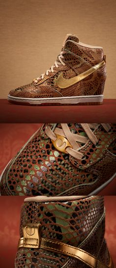 The Nike Dunk Sky Hi, a court classic adapted with a subtle reptilian veneer in celebration of the Year of the Snake. #sportswear #dunks #nike Wedge Sneakers, Wedge Boots, Sneaker Wedges, Heeled Boots, Shoe Boots, Hot Shoes, Crazy Shoes, Me Too Shoes, Nike Outfits