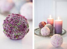 Julekuler i lilla og rosa