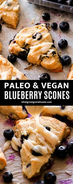 These paleo blueberry scones are easy to make with a perfectly flaky and soft texture. They are also vegan, and make a delicious egg free breakfast or a snack! #paleo #vegan #eggfreebreakfast #vegandessert #paleodessert #blueberrydessert #blueberryscones Vegan Dessert Recipes, Real Food Recipes, Scone Recipes, Healthy Desserts, Paleo Recipes, Healthy Vegan Breakfast, Free Breakfast, Healthy Breakfasts, Blueberry Scones Recipe